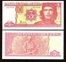 CHE GUEVARA 3 PESOS MINT CONDITION BANK NOTE