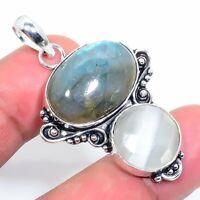 "Labradorite Monalisa Handmade Ethnic Style Jewelry Pendant 1.97"" VJ-5875"