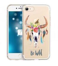 Coque Iphone 7 iphone 8 Skull Bull boheme plumes fleur wild transparente