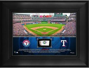 """Texas Rangers Framed 5"""" x 7"""" Stadium Collage with a Piece of Game-Used Baseball"""