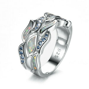 Exquisite Blue Simulated Opal Fire Zircon Ring Silver Wedding Jewelry Size 9