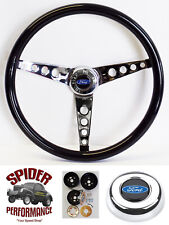 "78-91 Bronco Ford pickup steering wheel BLUE OVAL 15"" GLOSSY GRIP"