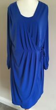 Ladies Marks and Spencer Royal Blue Long Sleeve Wrap Style Dress Size 16