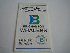 1989/90 DEFUNCT AHL BINGHAMTON WHALERS POCKET SCHEDULE***MARINE MIDLAND BANK***