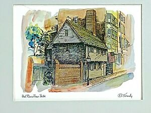 Matted art print Paul Revere house Boston by R E Kennedy lithograph 9 x 12 nice