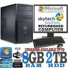 FAST DELL COMPUTER SET PC UP TO  8GB RAM 2TB HDD WIFI CHEAP WINDOWS 10 MONITOR