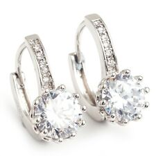 Noble Clear Round Cubic Zircon White Gold Plated Lady Jewelry Hoop Earrings