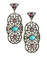 Antique Rose Cut Diamond 5.10ct Turquoise Ruby Dangle Amazings Earrings Jewelry