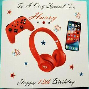personalised handmade birthday card  Son Grandson Brother  Nephew 11th 13th 17th
