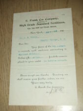 ANTIQUE 1906 E Frank Coe Fertilizer Co New York NY Campton Village NH Receipt