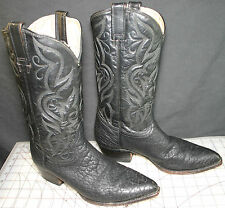 MEN'S BLACK THROAT OF THE BULL PRIME CUT LEATHER JACA COWBOY BOOTS, 9