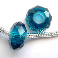10 Crystal 14x9mm Large hole Facet beads Blue