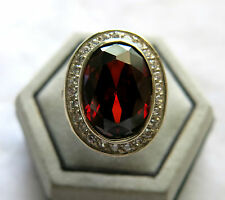 MEN'S BRONZE RING STERLING SILVER RED NAGA DRAGON STONE THAI AMULET SZ 11 NEW