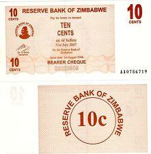 Zimbabwe Billet 10 CENTS DOLLAR 2007 BEARER P35  NEUF UNC