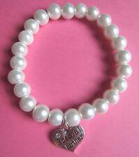 """Diamante Cuore """"Mother"""" fascino Bianco Perla Perline Bracciale Nuovi Mamme Giorno Regalo"""