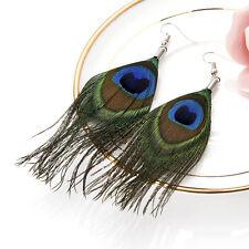 Super Light Peacock Feather Dangle Earrings Fashion Jewelry Ear Ring Dangle Gift