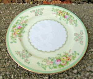 """Meito Japan Hand Painted China Floral Bread Dessert Plate 6½"""" green border"""