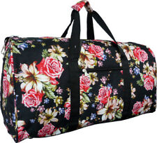 "22"" Women's Rose Lily Print Gym Dance Cheer Travel Carry On Duffel Bag - Black"