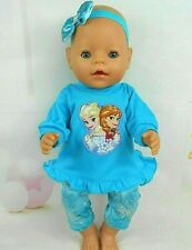 "Dolls clothes for 17"" Baby Born~16"" CPK doll~FROZEN~ELSA & ANNA AQUA TOP~TIGHTS"