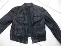 Ladies M&S AUTOGRAPH black real leather JACKET size s/m UK 10 12 biker racer