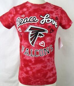Atlanta Falcons Girls Medium (10/12) Tye-Dye Peace Love Falcons T-shirt AFAL 204