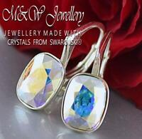 925 Sterling Silver Earrings Crystals from Swarovski® 8mm Cushion - CRYSTAL AB