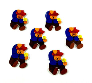 Bears Sticker Made of Wood Plugs Table Decorations Shaker Parts 6 Piece