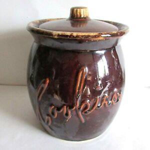 """VTG Brown Hull Cookie Jar w Script Dripware Oven Proof USA 8.75"""" tall FREE SH"""