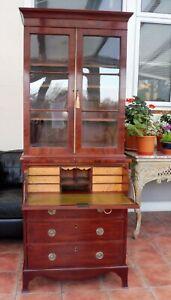 MAHOGANY FLAME  GLAZED SECATAIRE BOOKCASE 1820 FREE SHIPPING ENGLAND