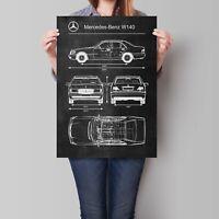 Mercedes Benz W140 Poster Car Retro Vintage Blueprint Art