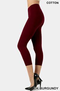 Womens ZENANA Capri Leggings 3/4 Length Basic Cotton Span Stretch Pants