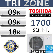 22 SEER 36000 BTU Tri Zone Ductless Mini Split Air Conditioner Heat Pump, 9+9+18