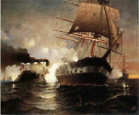 CHENPAT1261 sea Warship Battle handmade-painted oil painting art on canvas