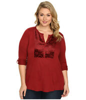 NWT Lucky Brand Women's Merlot Adjustable Sleeve Henley Top Plus Sizes 1X/2X/3X
