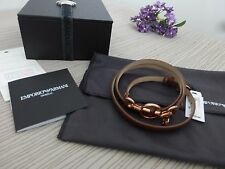 BN Emporio Armani Ladies Brown Leather Bracelet with Rose Gold Charm
