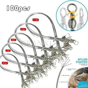100pcs Wire Leader Fishing Trace Lure Stainless Steel Line Spinner Swivel Tackle