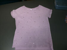 Girls Size 10/12 Lavender/Grey Top with Heart Sequins