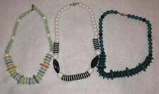 Lot of 3 Vintage Retro 1980's Black & White & Pastel Beaded Necklaces Costume
