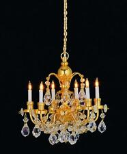 Dolls House Real Crystal 6 Arm Chandelier Gold Finish Miniature Light Accessory