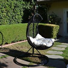 Black / Khaki  Egg Shape Wicker Rattan Swing  Chair Weaved Hanging Hammock