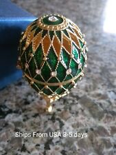 New listing Lovely Green Metal Faberge Egg