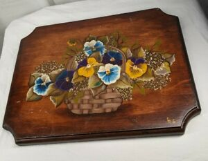 Vintage Hand Painted Wood Pansies Flower Plaque Sign Tole Painting 1990's Shabby