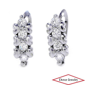 Italian White Stone 18K Gold Small Heart Huggie Hoop Earrings NR
