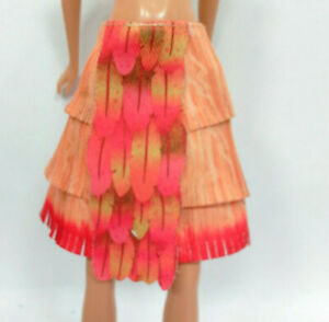 Clothes for Barbie dolls Orange Red Multi Layer Skirt #932