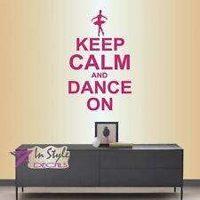 Wall Vinyl Decal Keep Calm and Dance On Ballet Dancer Girls Room Kids Decor 1881