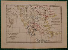 1781 DATED RIGOBERT BONNE MAP ~ TURKEY IN EUROPE GREECE MOREA CRETE MACEDONIA
