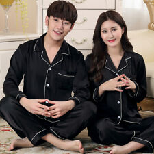 Mens Womens Silk Satin Pajamas Pyjamas Lovers Loungewear Sleepwear Set Nightgown