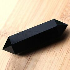 Natural Obsidian Black Quartz Crystal Double Terminated Point Healing 75*23mm