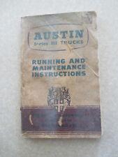 Original mid 1950s Austin Series III 3 & 5 ton trucks owner's manual