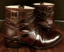RARE FREEBIRD BY STEVEN SAMMI  BURGUNDY ANKLE BOOTS BOOTIES 8